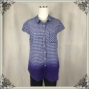 Anthro Holding Horses Blue/White Gingham Top #2425